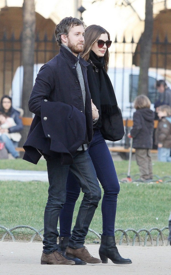 Anne Hathaway and future hubby Out for a Walk in Paris - 29th February, 2012