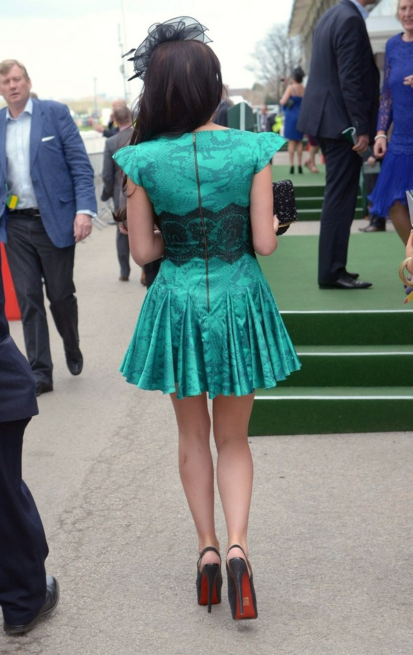 Danielle Lloyd Arriving to Ladies day at Aintree Liverpool