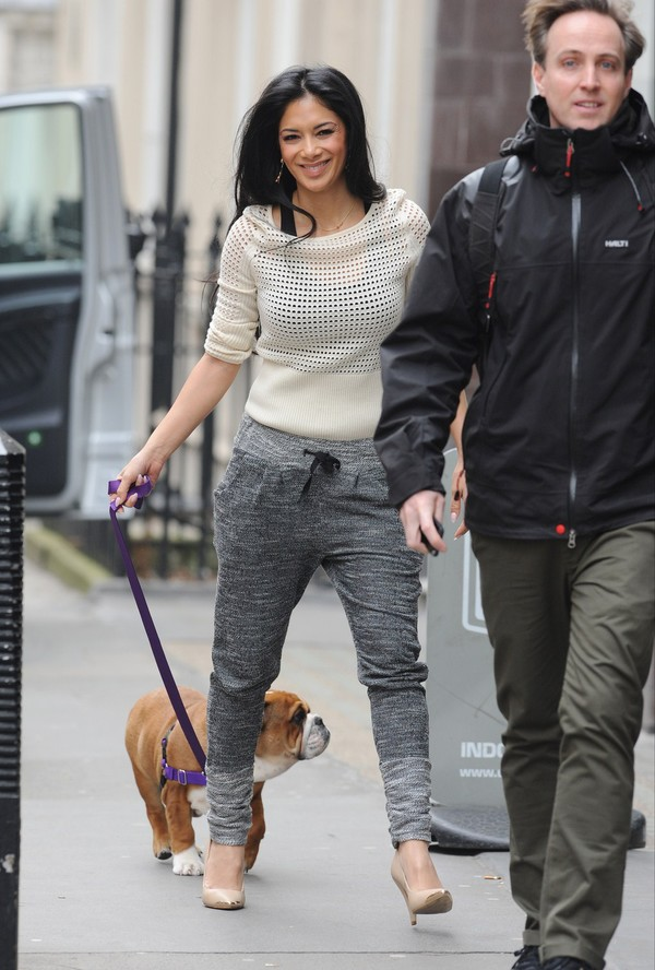 Nicole Scherzinger out with her British Bulldog Puppy in Central London on March 20, 2013