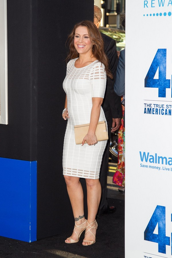 Alyssa Milano at '42' premiere in Hollywood on April 9, 2013