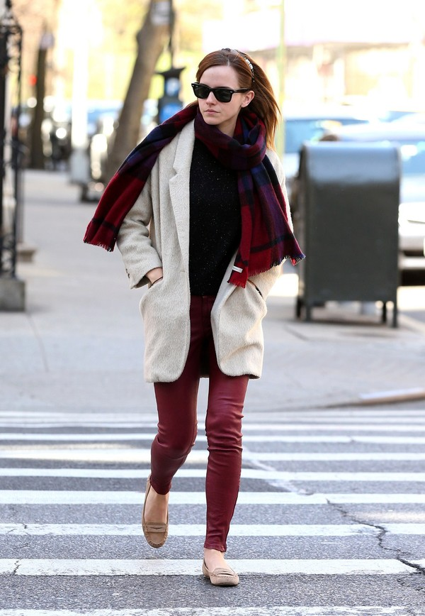 Emma Watson wearing red leather pants, out and about in New York City on April 5, 2013