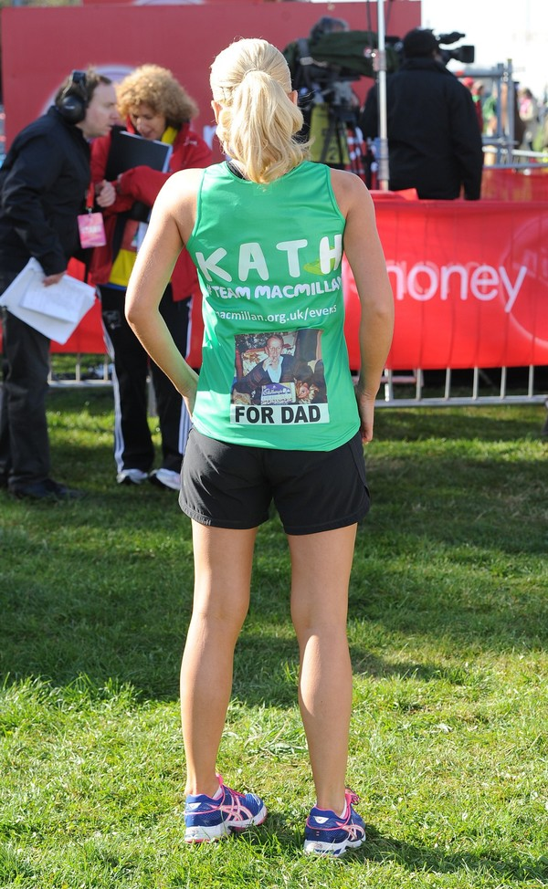 Katherine Jenkins in Shorts, running the London Marathon on April 21, 2013