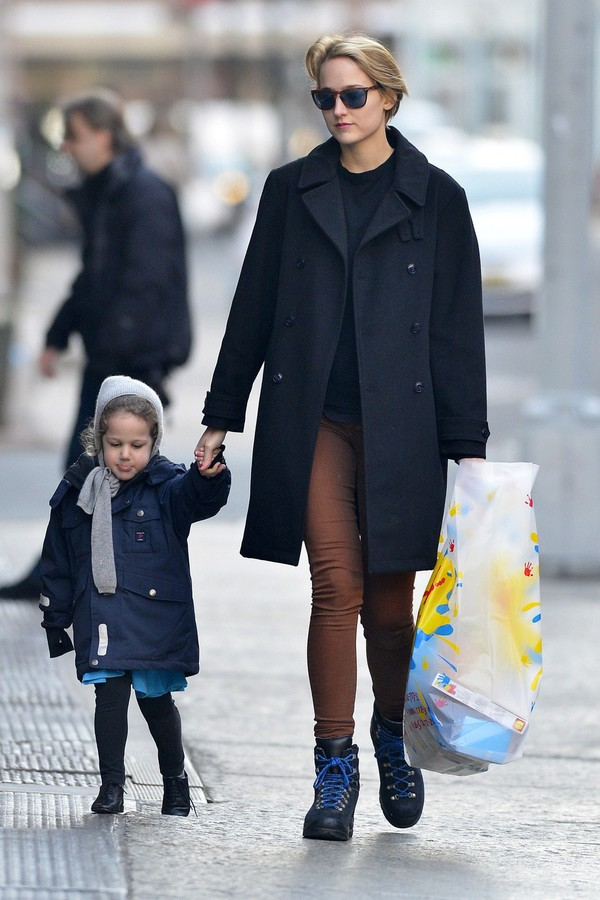Leelee Sobieski out and about with her kid in Tribeca, New York on March 31, 2013