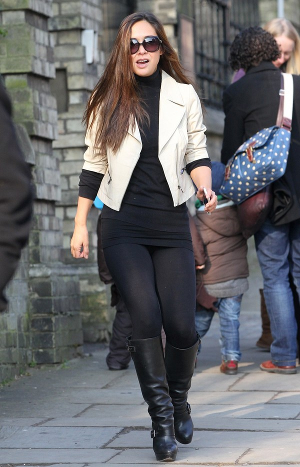 Myleene Klass out in Leggings and Boots in London on March 28, 2013