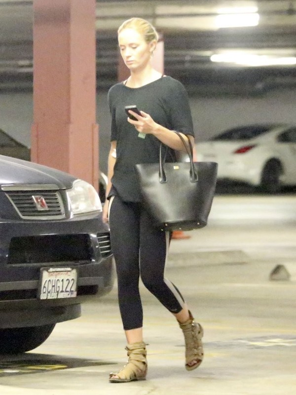 Emily Blunt in tights, out and about in Beverly Hills on May 13, 2013