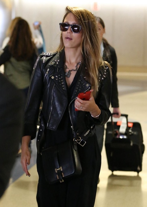 Jessica Alba arriving on a flight at LAX in Los Angeles on May 10, 2013