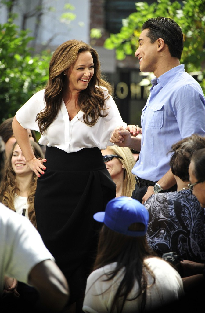 Leah Remini at The Extra Show at The Grove in Hollywood on April 29, 2013