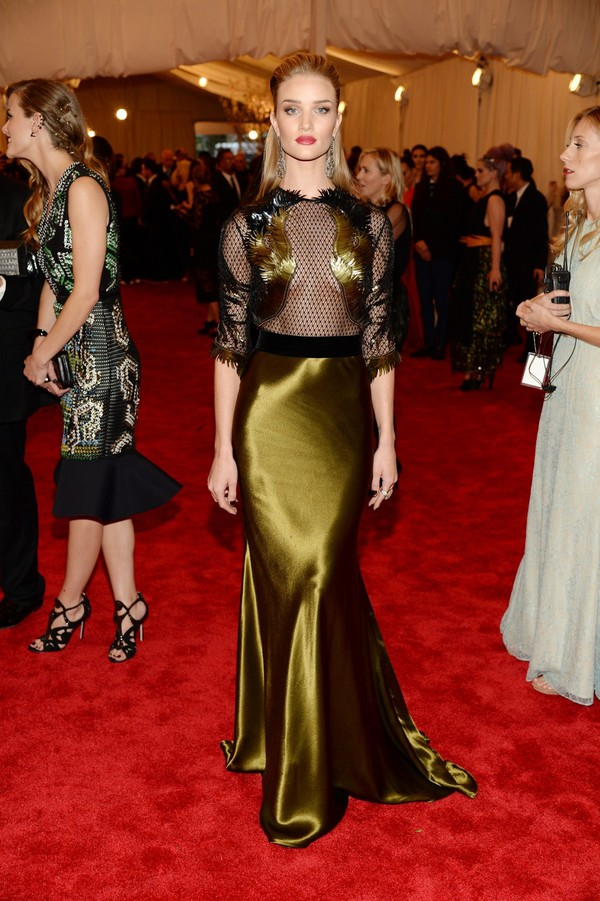 Rosie Huntington-Whiteley at 2013 Met Gala at the Metropolitan Museum of Art in NYC on May 6, 2013