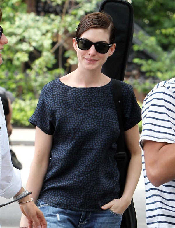 Anne Hathaway On the Sets of 'Song One' in New York City on June 11, 2013